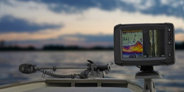 Image of fish finder attached to a boat