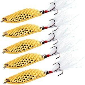 Sougayilang Spoons Hard Fishing Lures Treble Hooks Salmon