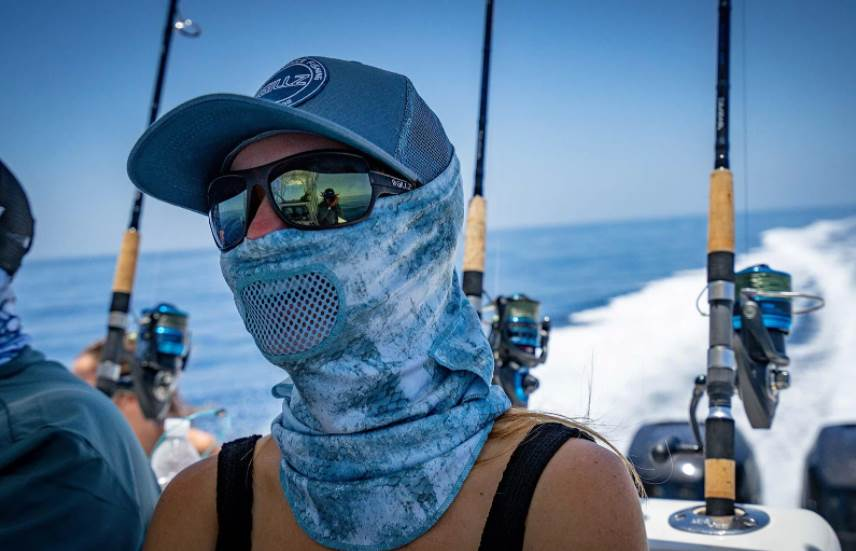 image of a woman wearing a fishing mask