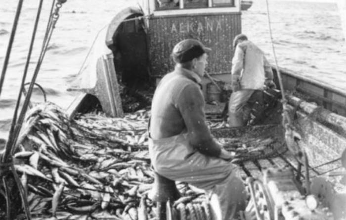 an old image of a fishing boat