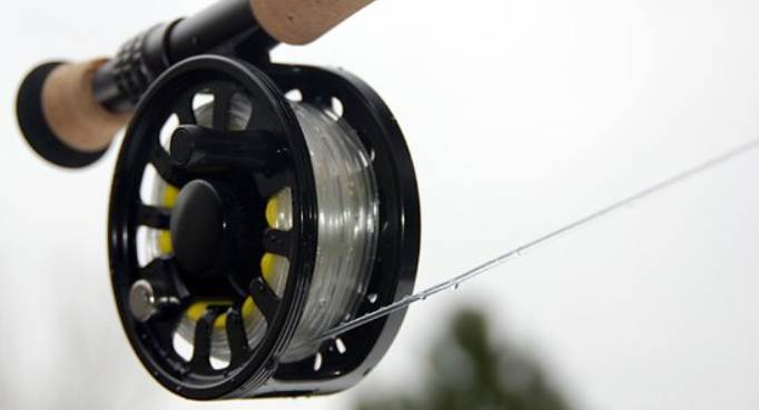 image of a clear fishing line reel