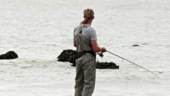 image of a person fishing near the shore