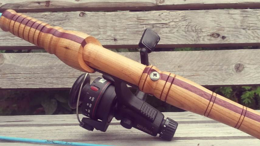 image of a wooden fishing rod