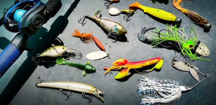 image of multiple fishing lures and rod