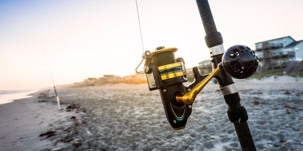 close up image of the fishing pole