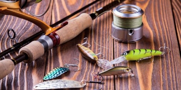 image of some fishing lures and rod