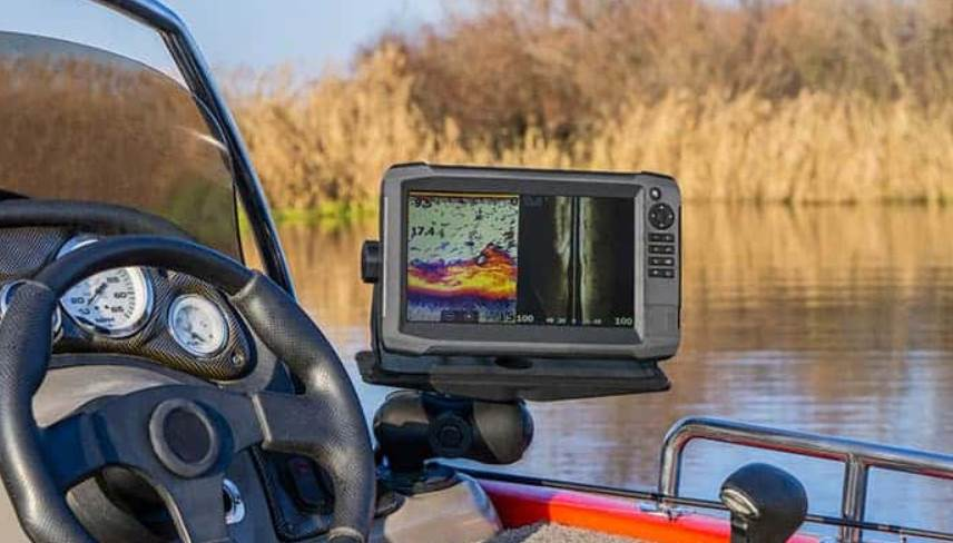 image of the fish finder attached to a boat