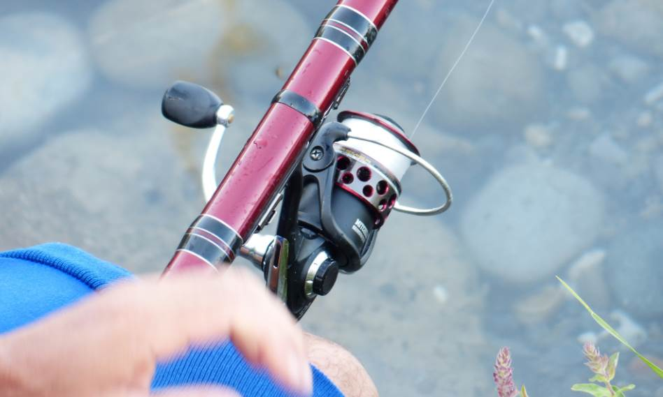 top down image of a fishing pole